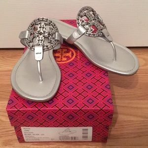 27609e0fdf6585 Tory Burch Shoes - Tory Burch Miller Embellished Sandal Silver 9